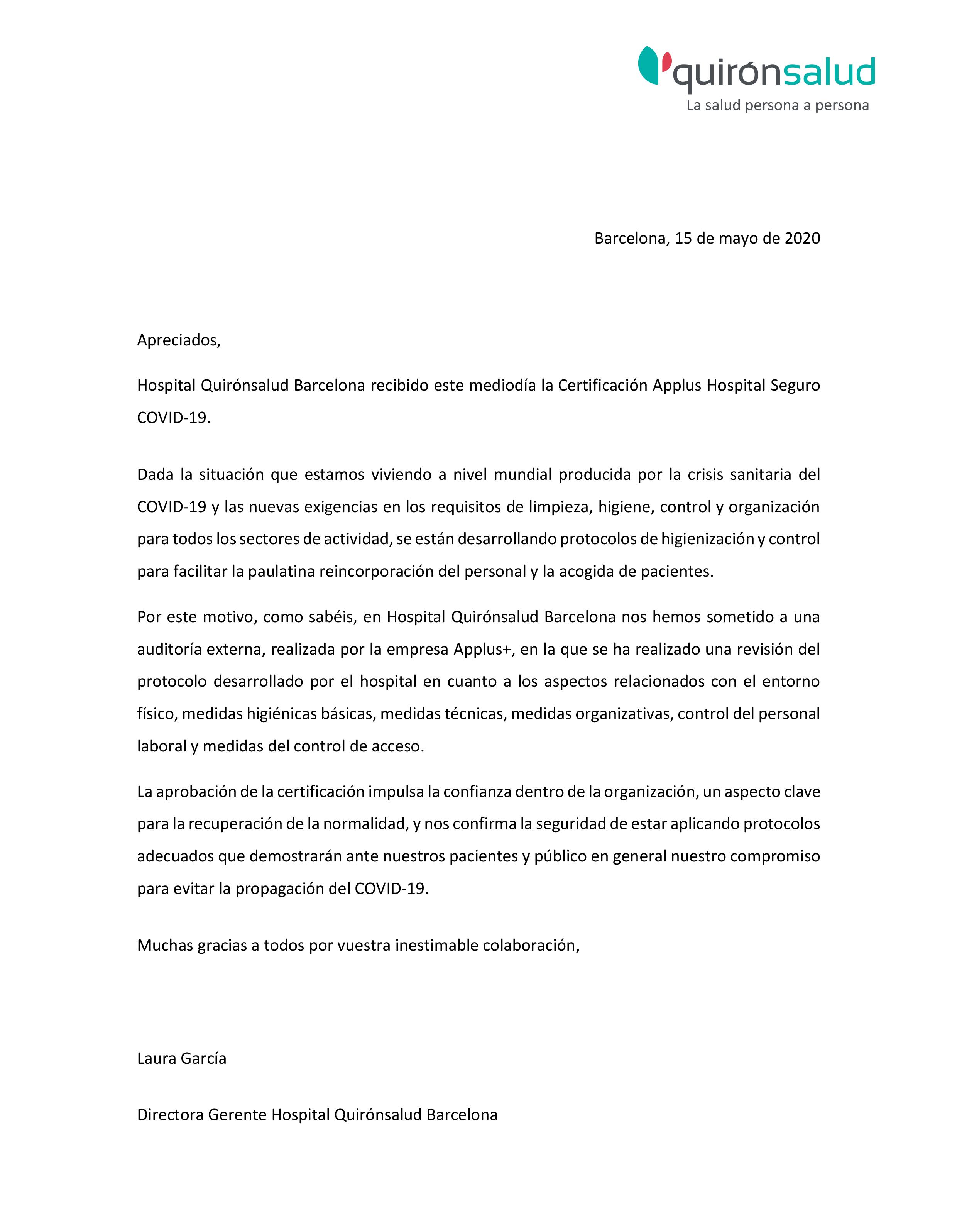 Certificacion-Hospital-Quironsalud-Barcelona