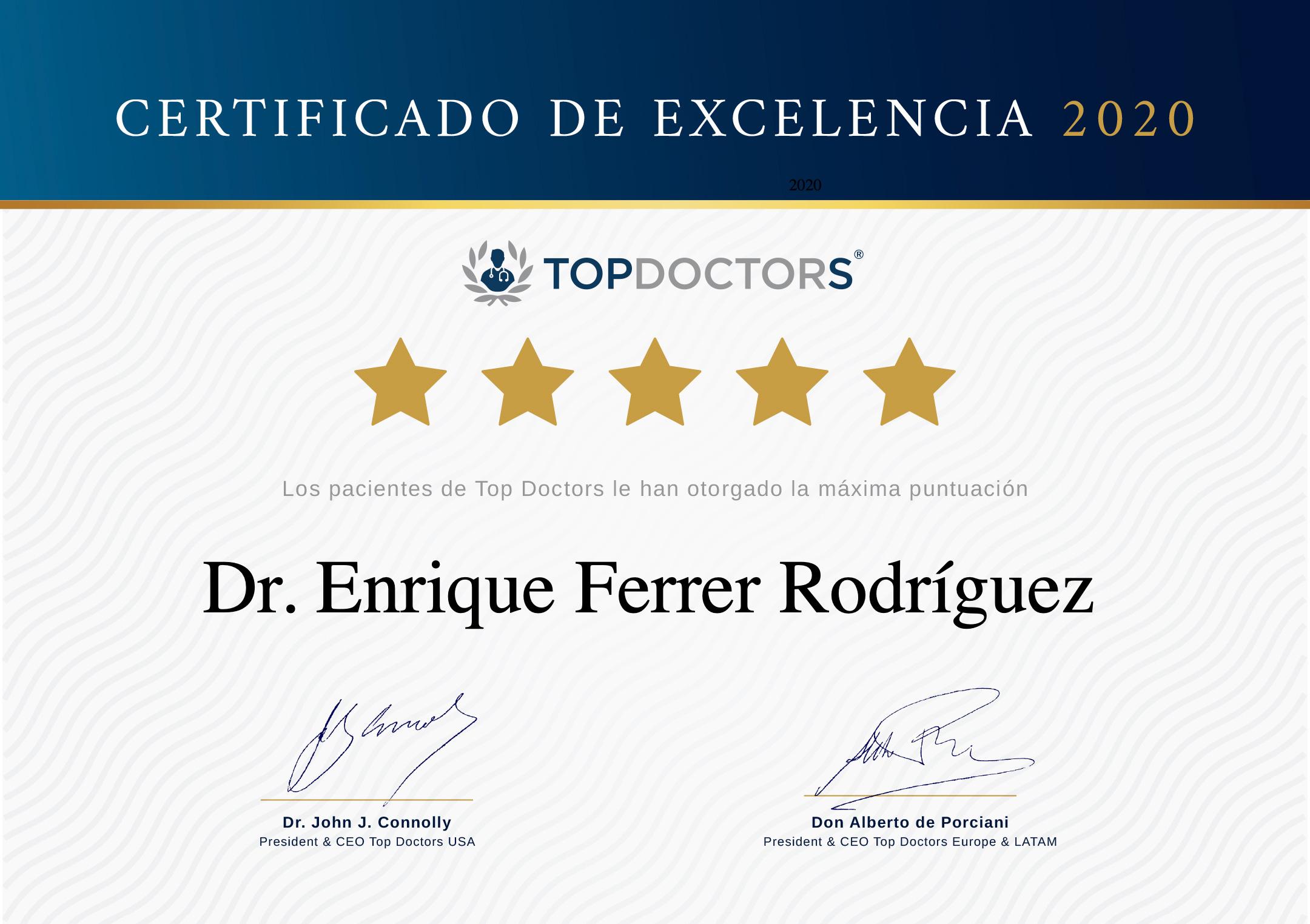 Top doctors excelencia Doctor Enrique Ferrer