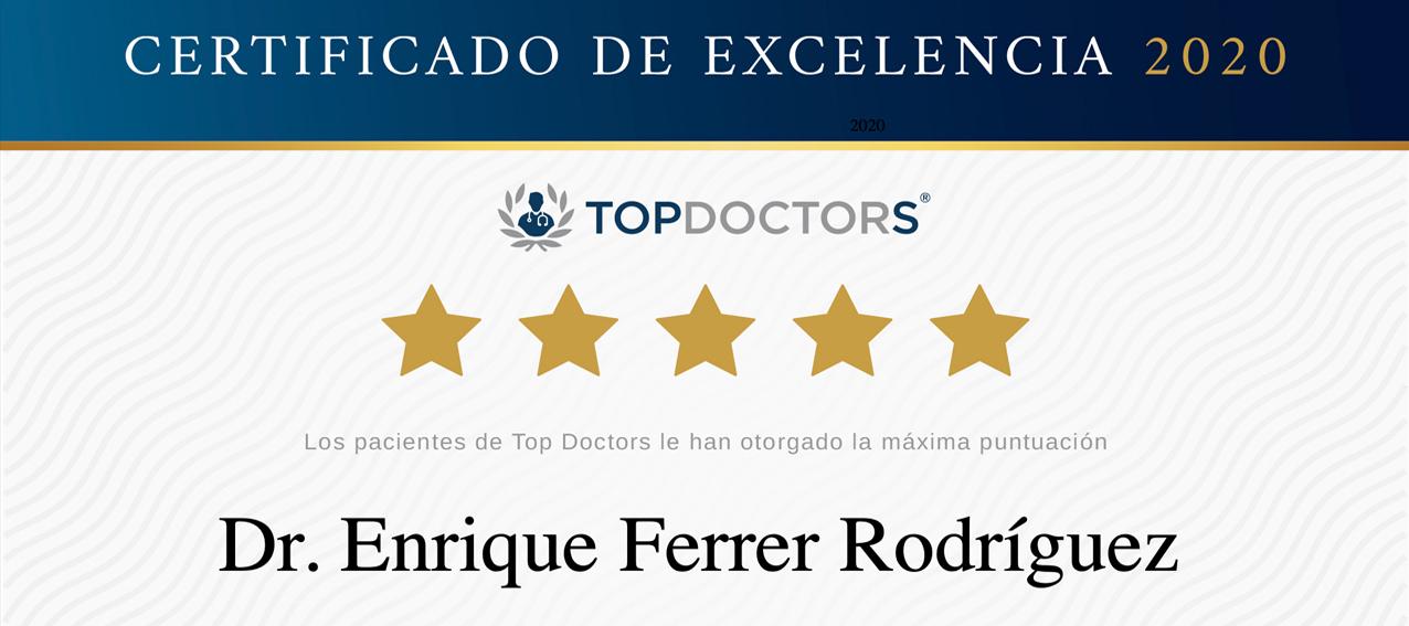 El Doctor Enrique Ferrer, galardonado con el «Premio a la Excelencia 2020» por sus pacientes